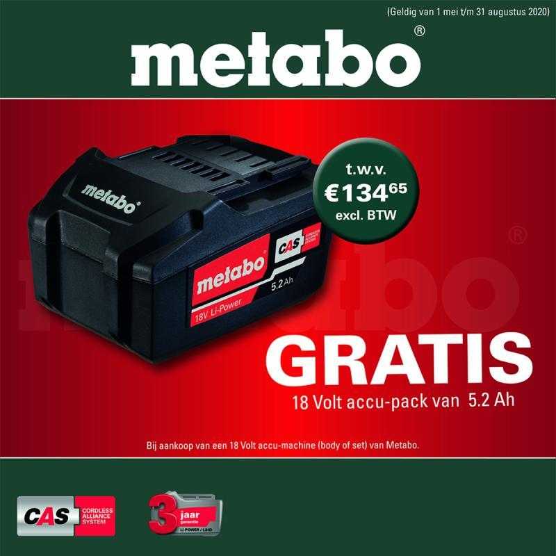 GRATIS Metabo 18v 5.2ah accu